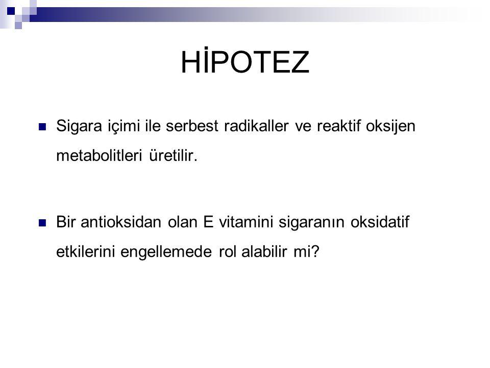 HİPOTEZ Sigara içimi ile serbest radikaller ve reaktif oksijen metabolitleri üretilir.