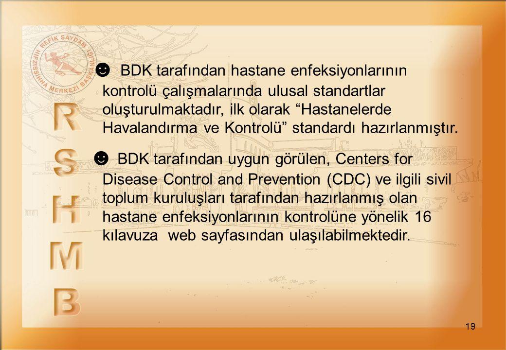"""19 ☻ BDK tarafından hastane enfeksiyonlarının kontrolü çalışmalarında ulusal standartlar oluşturulmaktadır, ilk olarak """"Hastanelerde Havalandırma ve K"""
