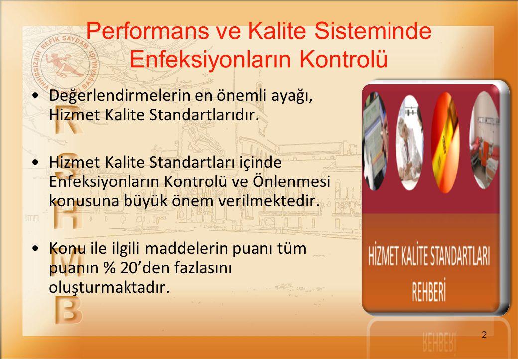 2 Değerlendirmelerin en önemli ayağı, Hizmet Kalite Standartlarıdır. Hizmet Kalite Standartları içinde Enfeksiyonların Kontrolü ve Önlenmesi konusuna
