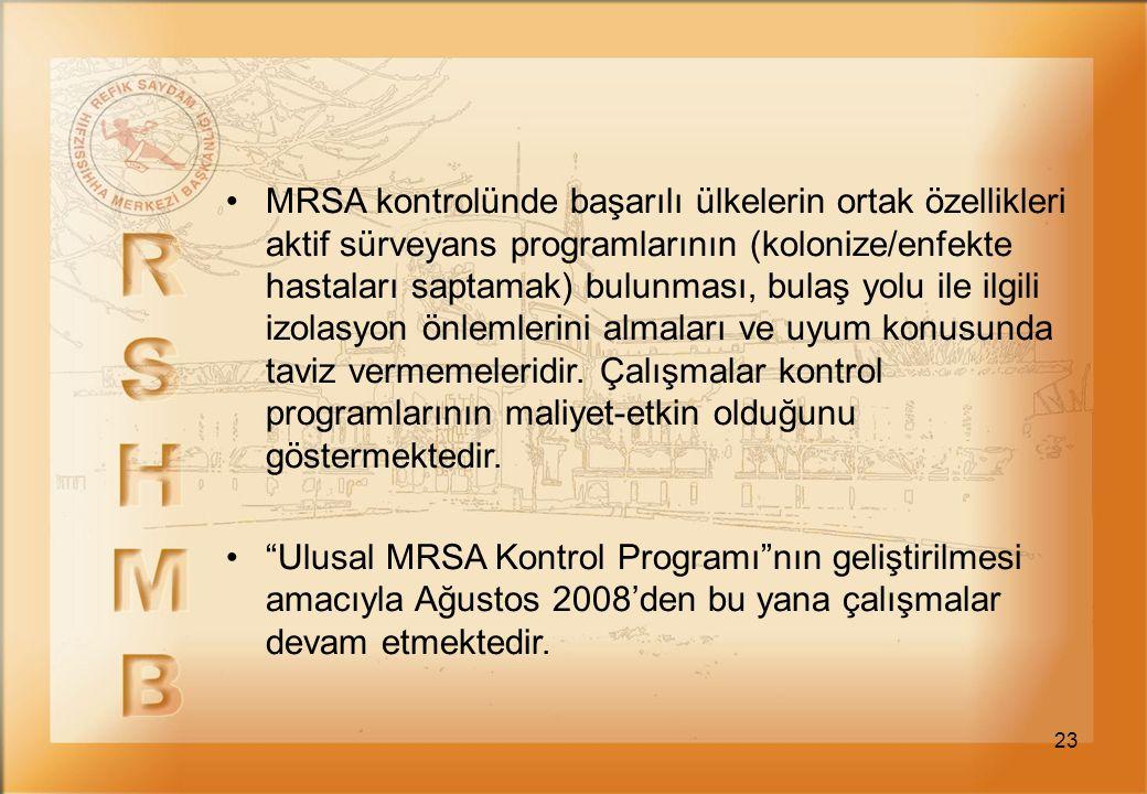 23 MRSA kontrolünde başarılı ülkelerin ortak özellikleri aktif sürveyans programlarının (kolonize/enfekte hastaları saptamak) bulunması, bulaş yolu il