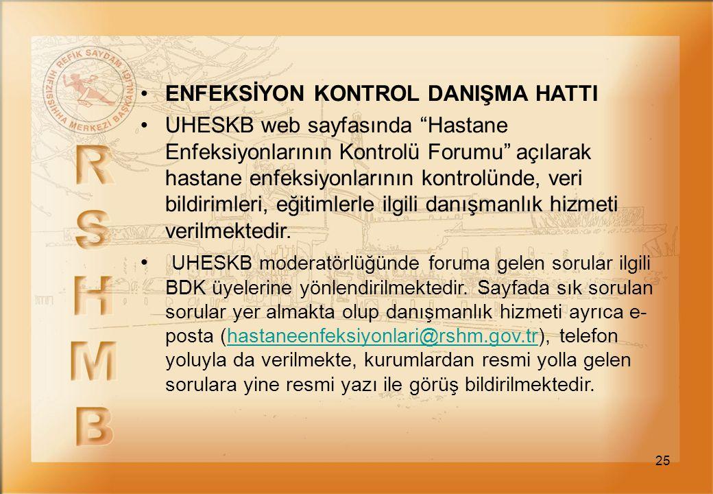 """25 ENFEKSİYON KONTROL DANIŞMA HATTI UHESKB web sayfasında """"Hastane Enfeksiyonlarının Kontrolü Forumu"""" açılarak hastane enfeksiyonlarının kontrolünde,"""