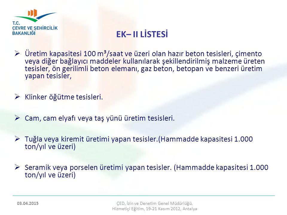 TEKSTİL SEKTÖRÜ  Tanımlar  Çevresel Etkiler  Alınacak Önlemler ÇED, İzin ve Denetim Genel Müdürlüğü, Hizmetiçi Eğitim, 19-21 Kasım 2012, Antalya 2 03.04.2015