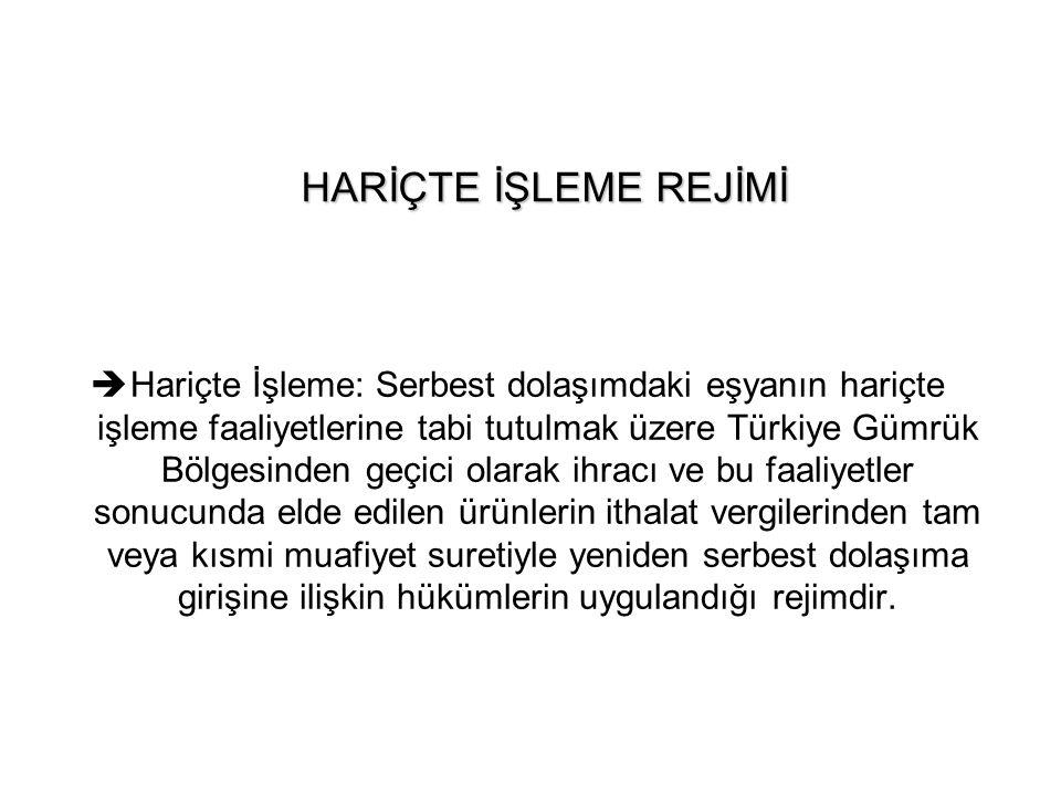 HARİÇTE İŞLEME REJİMİ  Hariçte İşleme: Serbest dolaşımdaki eşyanın hariçte işleme faaliyetlerine tabi tutulmak üzere Türkiye Gümrük Bölgesinden geçic