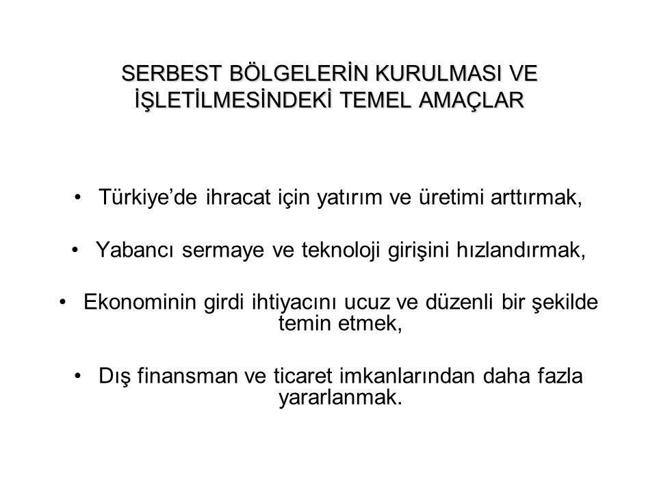 SERBEST BÖLGELERİN KURULMASI VE İŞLETİLMESİNDEKİ TEMEL AMAÇLAR Türkiye'de ihracat için yatırım ve üretimi arttırmak, Yabancı sermaye ve teknoloji giri