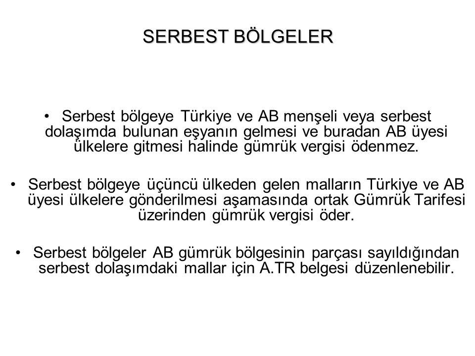 SERBEST BÖLGELER Serbest bölgeye Türkiye ve AB menşeli veya serbest dolaşımda bulunan eşyanın gelmesi ve buradan AB üyesi ülkelere gitmesi halinde güm