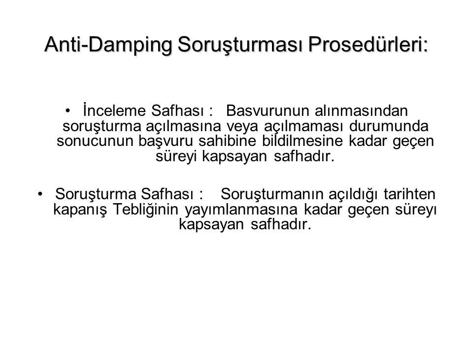 Anti-Damping Soruşturması Prosedürleri: İnceleme Safhası : Basvurunun alınmasından soruşturma açılmasına veya açılmaması durumunda sonucunun başvuru s