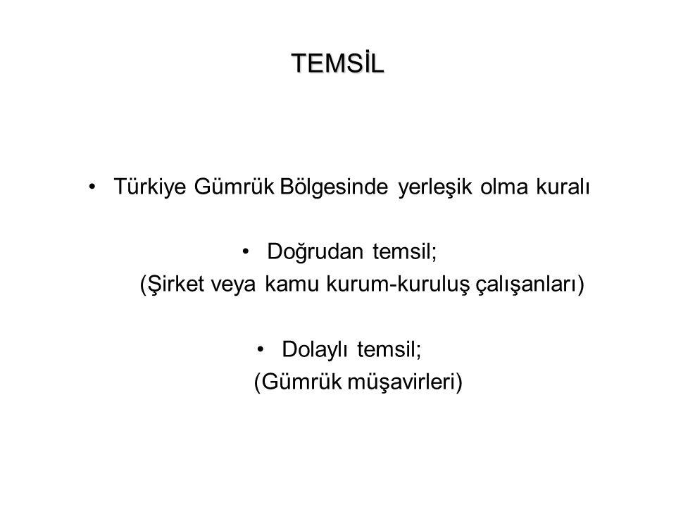 TEMSİL Türkiye Gümrük Bölgesinde yerleşik olma kuralı Doğrudan temsil; (Şirket veya kamu kurum-kuruluş çalışanları) Dolaylı temsil; (Gümrük müşavirler