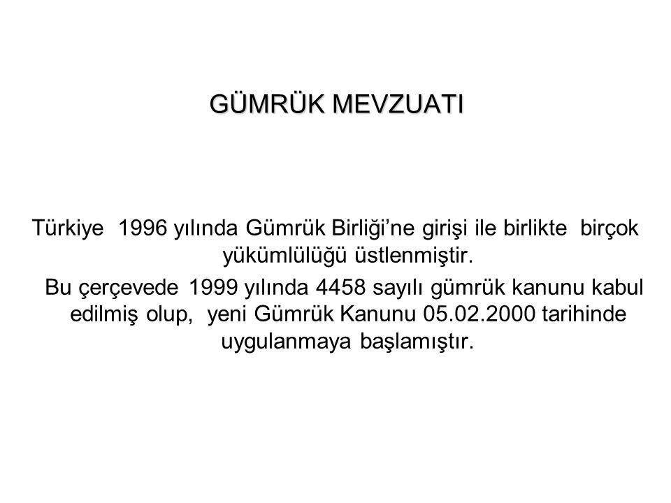 GÜMRÜK MEVZUATI Türkiye 1996 yılında Gümrük Birliği'ne girişi ile birlikte birçok yükümlülüğü üstlenmiştir. Bu çerçevede 1999 yılında 4458 sayılı gümr
