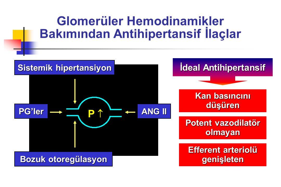 Renal Hasarın Progresyonu Bakımından Antihipertansif İlaçlar ACE inhibitörleri AT-1 reseptör blokerleri Beta blokerler Dihidropiridinler Diltiazem-Verapamil Alfa blokerler Santral alfa agonistler Direkt vazodilatörler Diüretikler GFH Proteinüri Lipid (?)             (?)     