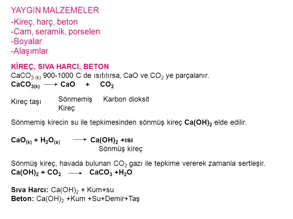KİREÇ, SIVA HARCI, BETON CaCO 3 (k) 900-1000 C de ısıtılırsa, CaO ve CO 2 ye parçalanır. CaCO 3(k) CaO + CO 2 Kireç taşı Karbon dioksitSönmemiş Kireç