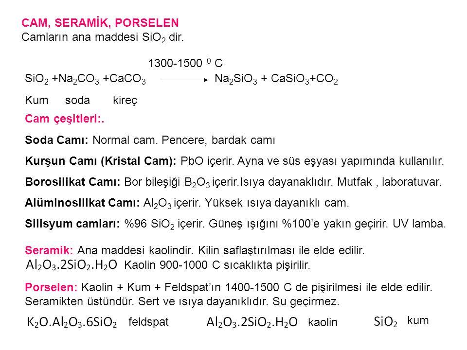 CAM, SERAMİK, PORSELEN Camların ana maddesi SiO 2 dir.