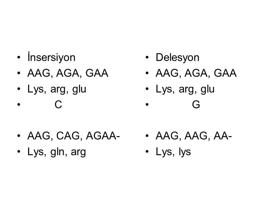 İnsersiyon AAG, AGA, GAA Lys, arg, glu C AAG, CAG, AGAA- Lys, gln, arg Delesyon AAG, AGA, GAA Lys, arg, glu G AAG, AAG, AA- Lys, lys