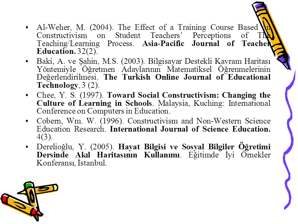 Al-Weher, M. (2004). The Effect of a Training Course Based on Constructivism on Student Teachers' Perceptions of The Teaching/Learning Process. Asia-P