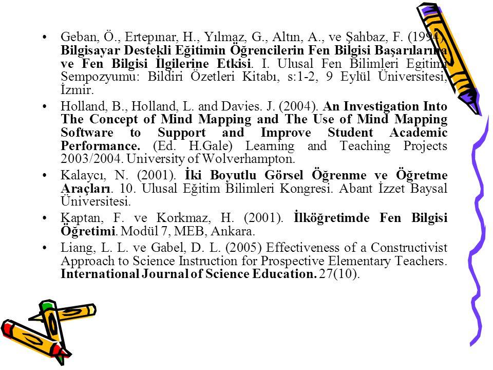 Geban, Ö., Ertepınar, H., Yılmaz, G., Altın, A., ve Şahbaz, F. (1994). Bilgisayar Destekli Eğitimin Öğrencilerin Fen Bilgisi Başarılarına ve Fen Bilgi