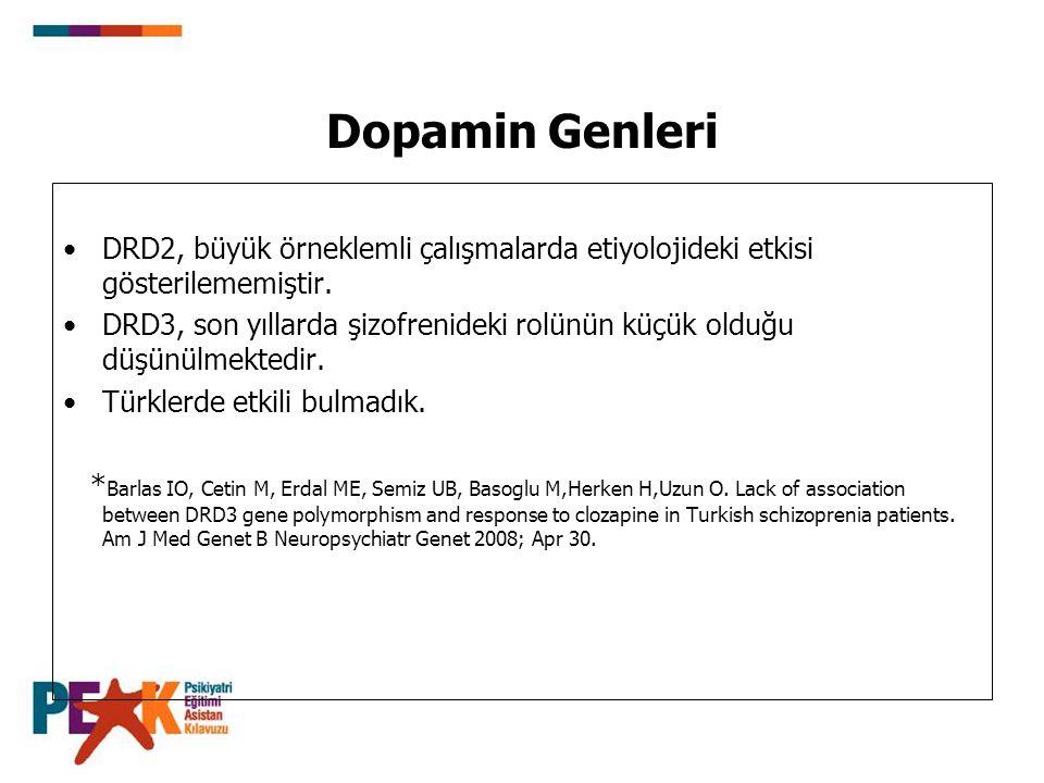 Dopamin Genleri DRD2, büyük örneklemli çalışmalarda etiyolojideki etkisi gösterilememiştir. DRD3, son yıllarda şizofrenideki rolünün küçük olduğu düşü