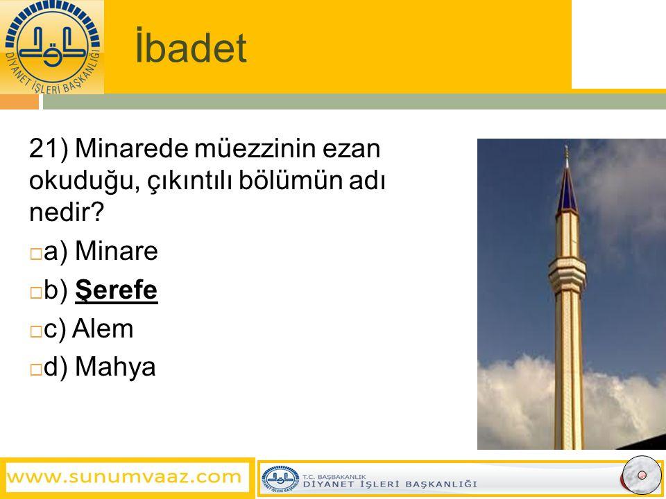 İbadet 21) Minarede müezzinin ezan okuduğu, çıkıntılı bölümün adı nedir.