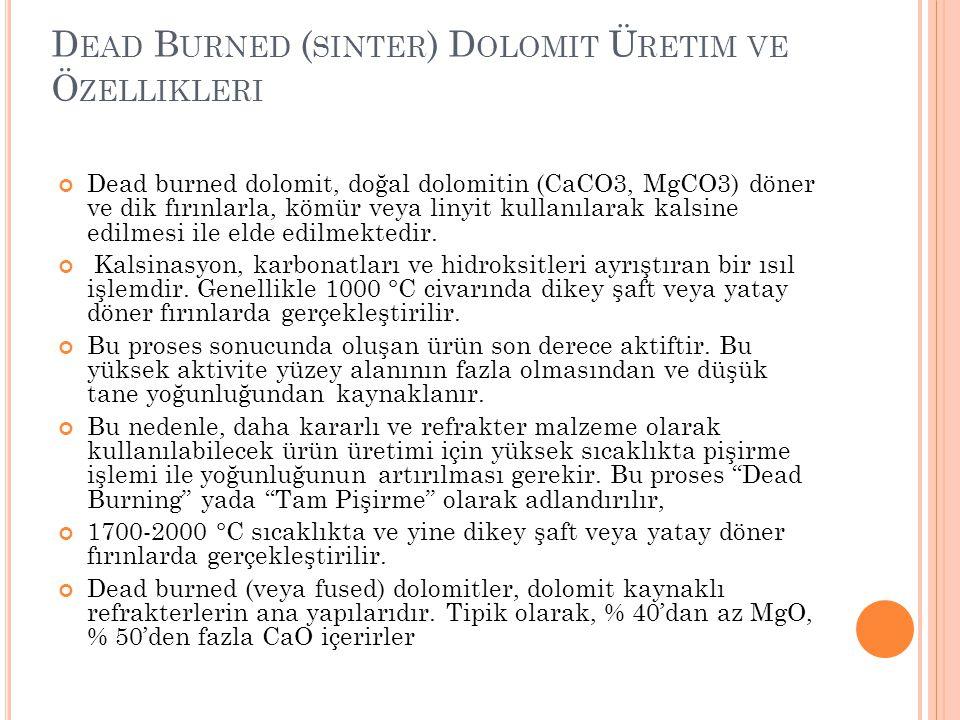 D EAD B URNED ( SINTER ) D OLOMIT Ü RETIM VE Ö ZELLIKLERI Dead burned dolomit, doğal dolomitin (CaCO3, MgCO3) döner ve dik fırınlarla, kömür veya liny