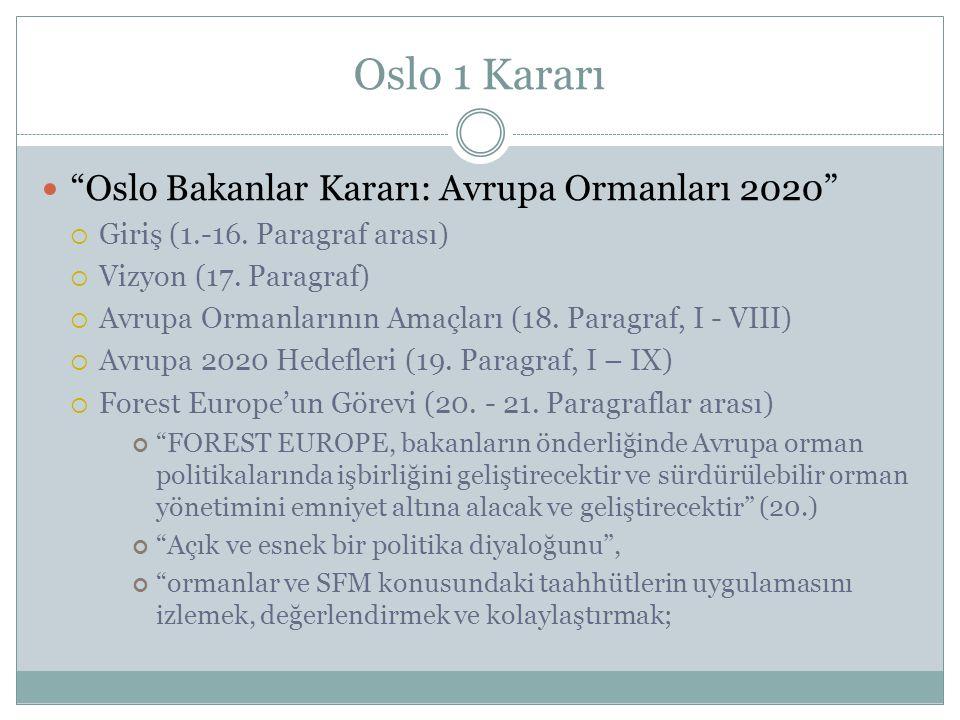 """Oslo 1 Kararı """"Oslo Bakanlar Kararı: Avrupa Ormanları 2020""""  Giriş (1.-16. Paragraf arası)  Vizyon (17. Paragraf)  Avrupa Ormanlarının Amaçları (18"""
