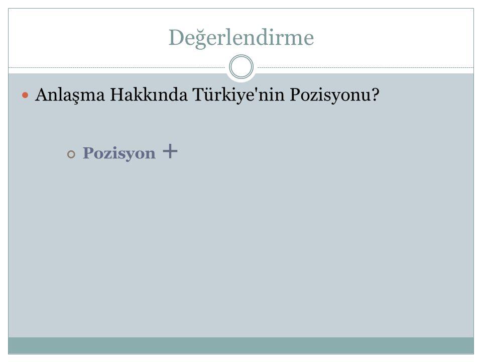 Değerlendirme Anlaşma Hakkında Türkiye'nin Pozisyonu? Pozisyon +