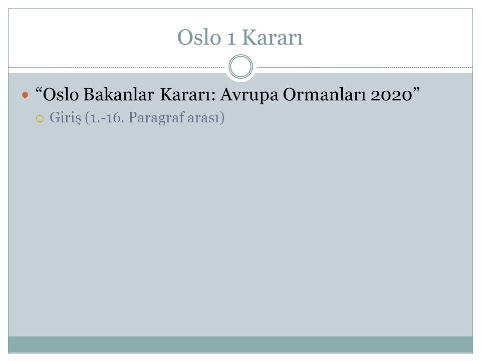 """Oslo 1 Kararı """"Oslo Bakanlar Kararı: Avrupa Ormanları 2020""""  Giriş (1.-16. Paragraf arası)"""