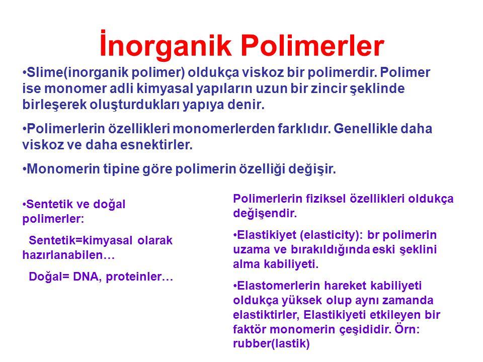 İnorganik Polimerler Slime(inorganik polimer) oldukça viskoz bir polimerdir. Polimer ise monomer adli kimyasal yapıların uzun bir zincir şeklinde birl
