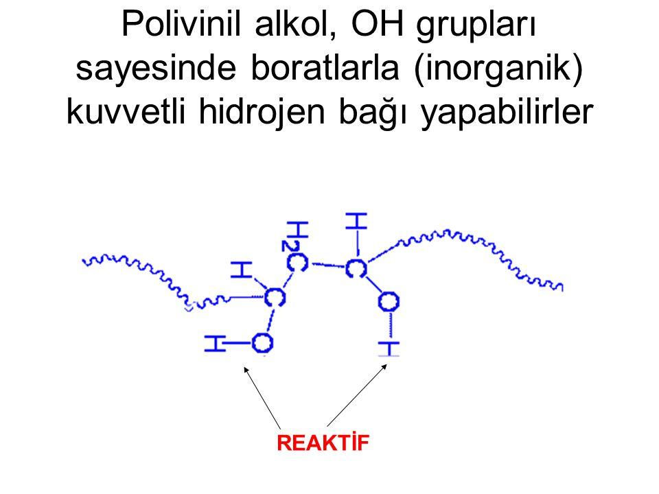 Polivinil alkol, OH grupları sayesinde boratlarla (inorganik) kuvvetli hidrojen bağı yapabilirler REAKTİF