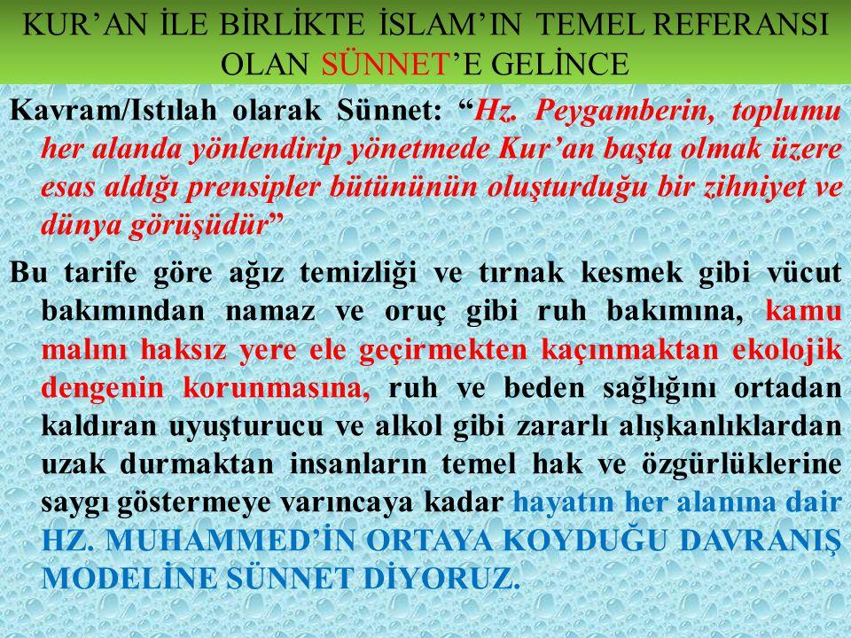 KUR'AN'DA SÜNNET KELİMESİ Kur'ân-ı Kerîm'de sünnet kelimesi, ikisi çoğul (sünen) olmak üzere on altı yerde geçer.