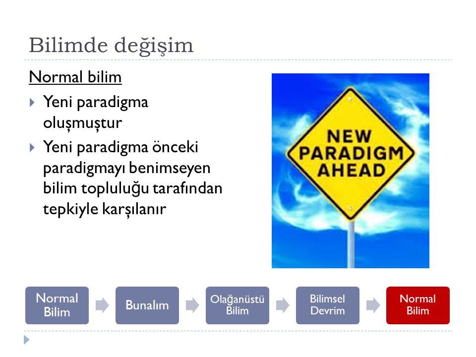 Bilimde değişim Normal bilim  Yeni paradigma oluşmuştur  Yeni paradigma önceki paradigmayı benimseyen bilim toplulu ğ u tarafından tepkiyle karşılan