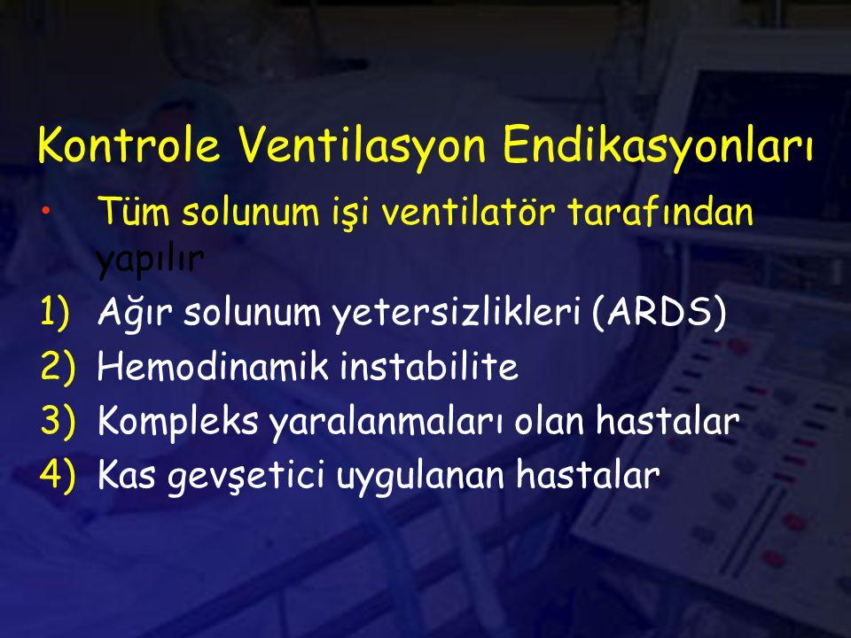 Kontrole Ventilasyon Endikasyonları Tüm solunum işi ventilatör tarafından yapılır 1)Ağır solunum yetersizlikleri (ARDS) 2)Hemodinamik instabilite 3)Kompleks yaralanmaları olan hastalar 4)Kas gevşetici uygulanan hastalar
