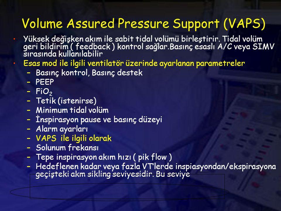 Volume Assured Pressure Support (VAPS) Yüksek değişken akım ile sabit tidal volümü birleştirir.