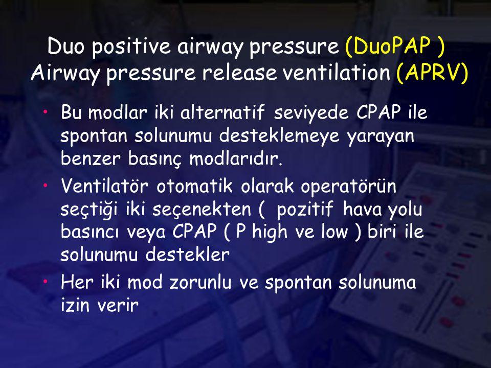 Duo positive airway pressure (DuoPAP ) Airway pressure release ventilation (APRV) Bu modlar iki alternatif seviyede CPAP ile spontan solunumu desteklemeye yarayan benzer basınç modlarıdır.