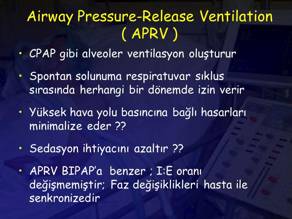 Airway Pressure-Release Ventilation ( APRV ) CPAP gibi alveoler ventilasyon oluşturur Spontan solunuma respiratuvar sıklus sırasında herhangi bir dönemde izin verir Yüksek hava yolu basıncına bağlı hasarları minimalize eder ?.