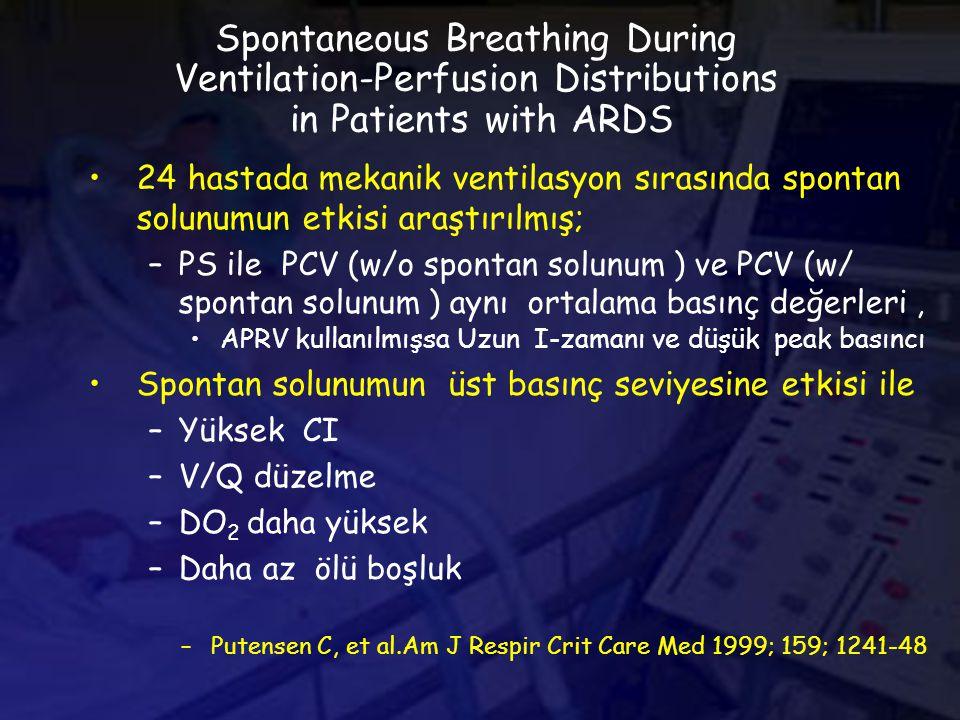Spontaneous Breathing During Ventilation-Perfusion Distributions in Patients with ARDS 24 hastada mekanik ventilasyon sırasında spontan solunumun etkisi araştırılmış; –PS ile PCV (w/o spontan solunum ) ve PCV (w/ spontan solunum ) aynı ortalama basınç değerleri, APRV kullanılmışsa Uzun I-zamanı ve düşük peak basıncı Spontan solunumun üst basınç seviyesine etkisi ile –Yüksek CI –V/Q düzelme –DO 2 daha yüksek –Daha az ölü boşluk –Putensen C, et al.Am J Respir Crit Care Med 1999; 159; 1241-48