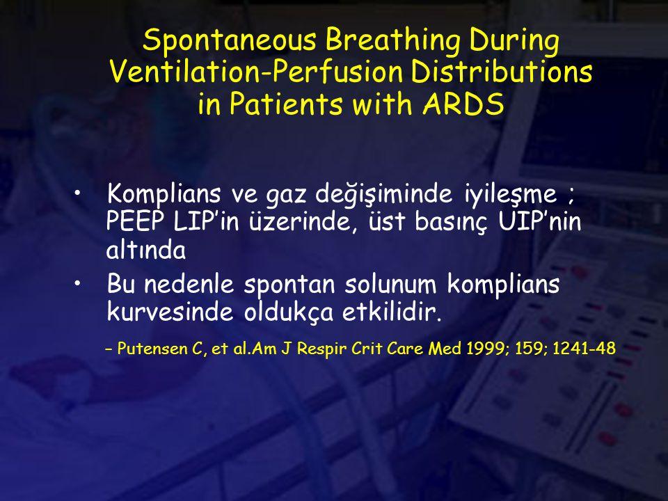 Spontaneous Breathing During Ventilation-Perfusion Distributions in Patients with ARDS Komplians ve gaz değişiminde iyileşme ; PEEP LIP'in üzerinde, üst basınç UIP'nin altında Bu nedenle spontan solunum komplians kurvesinde oldukça etkilidir.