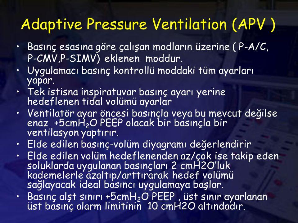 Adaptive Pressure Ventilation (APV ) Basınç esasına göre çalışan modların üzerine ( P-A/C, P-CMV,P-SIMV) eklenen moddur.