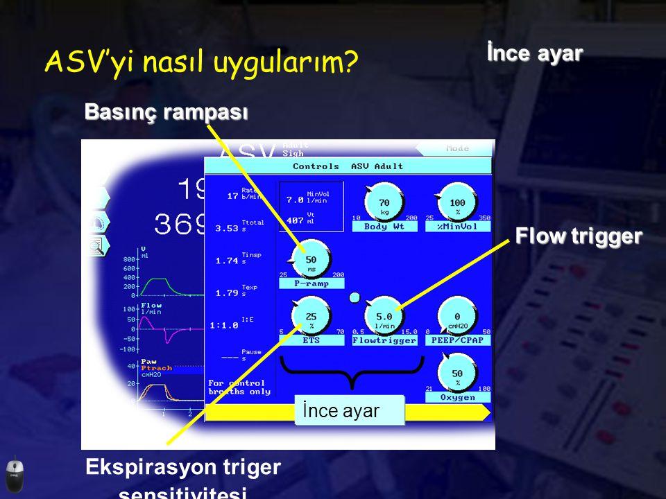 ASV'yi nasıl uygularım? İnce ayar Ekspirasyon triger sensitivitesi Flow trigger Basınç rampası
