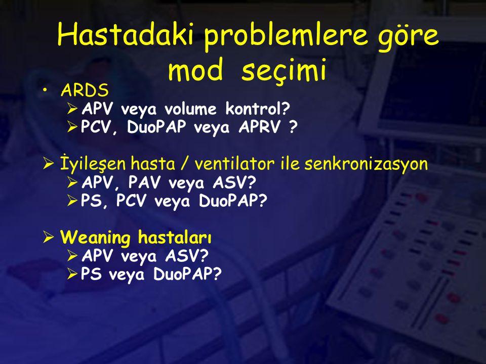 Hastadaki problemlere göre mod seçimi ARDS  APV veya volume kontrol.