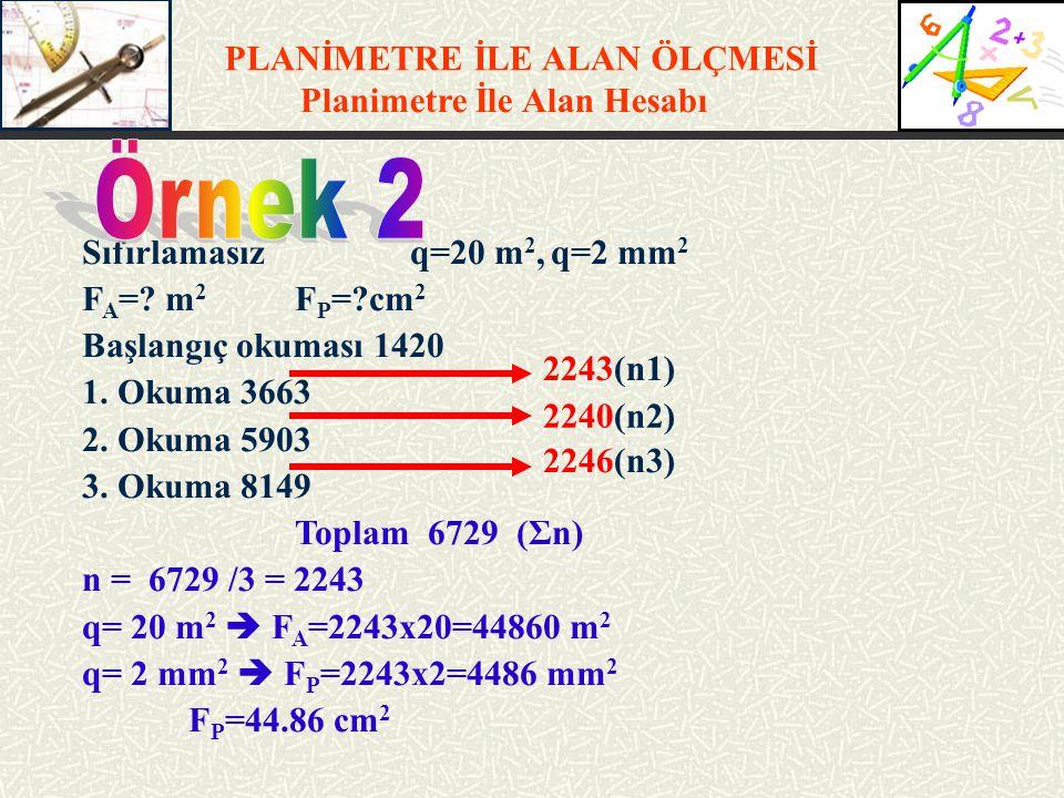 PLANİMETRE İLE ALAN ÖLÇMESİ Planimetre İle Alan Hesabı Sıfırlamasız q=20 m 2, q=2 mm 2 F A =? m 2 F P =?cm 2 Başlangıç okuması 1420 1. Okuma 3663 2. O
