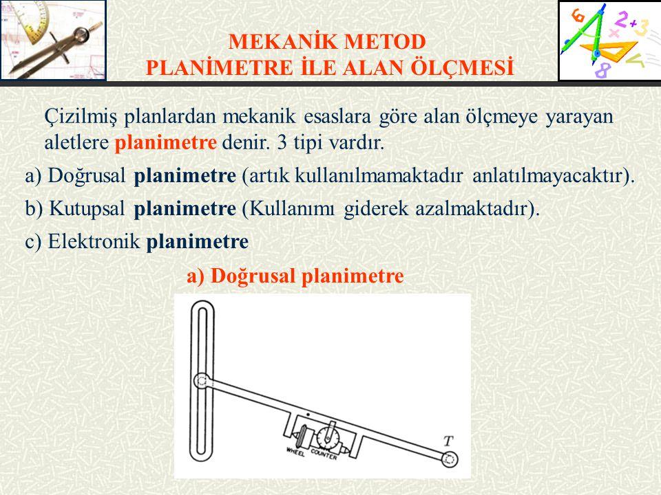 MEKANİK METOD PLANİMETRE İLE ALAN ÖLÇMESİ Çizilmiş planlardan mekanik esaslara göre alan ölçmeye yarayan aletlere planimetre denir. 3 tipi vardır. a)