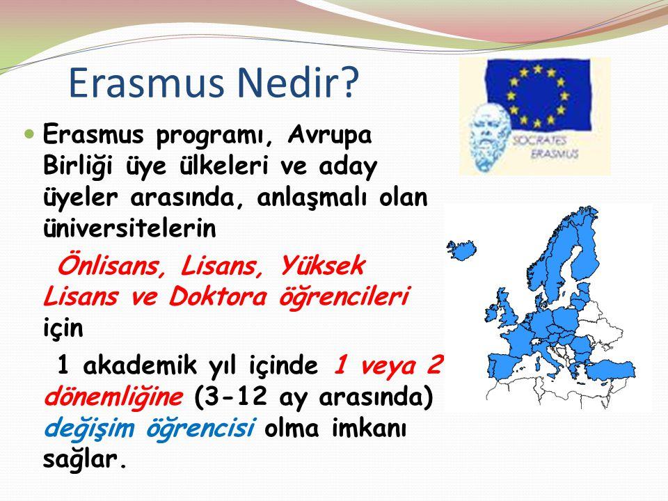 Erasmus Nedir? Erasmus programı, Avrupa Birliği üye ülkeleri ve aday üyeler arasında, anlaşmalı olan üniversitelerin Önlisans, Lisans, Yüksek Lisans v