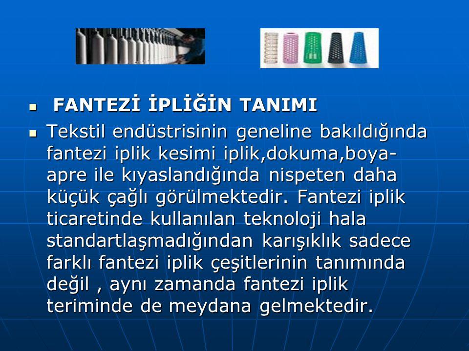 FANTEZİ İPLİĞİN TANIMI FANTEZİ İPLİĞİN TANIMI Tekstil endüstrisinin geneline bakıldığında fantezi iplik kesimi iplik,dokuma,boya- apre ile kıyaslandığ