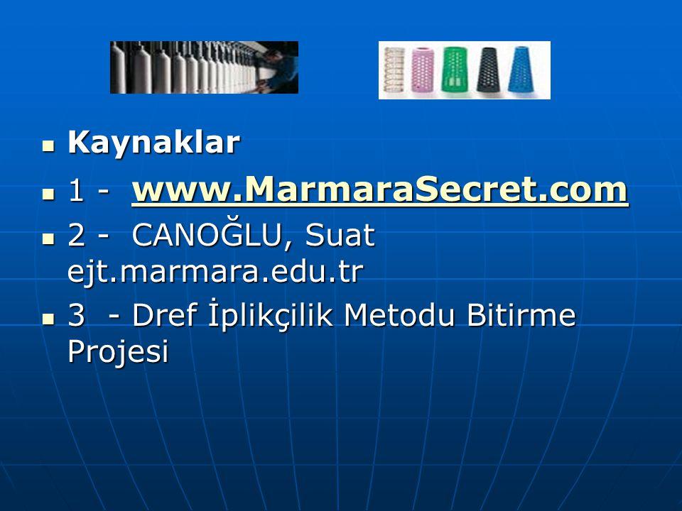 Kaynaklar Kaynaklar 1 - www.MarmaraSecret.com 1 - www.MarmaraSecret.com www.MarmaraSecret.com 2 - CANOĞLU, Suat ejt.marmara.edu.tr 2 - CANOĞLU, Suat e