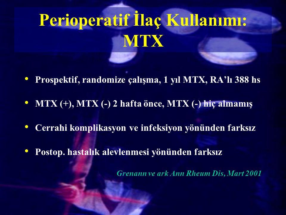 Prospektif, randomize çalışma, 1 yıl MTX, RA'lı 388 hs MTX (+), MTX (-) 2 hafta önce, MTX (-) hiç almamış Cerrahi komplikasyon ve infeksiyon yönünden