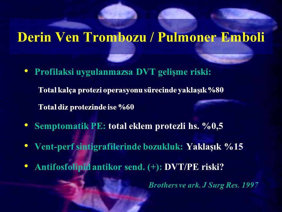 Derin Ven Trombozu / Pulmoner Emboli Profilaksi uygulanmazsa DVT gelişme riski: Total kalça protezi operasyonu sürecinde yaklaşık %80 Total diz protez
