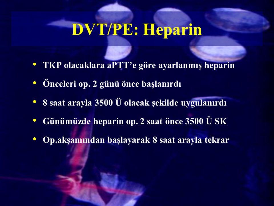 TKP olacaklara aPTT'e göre ayarlanmış heparin Önceleri op. 2 günü önce başlanırdı 8 saat arayla 3500 Ü olacak şekilde uygulanırdı Günümüzde heparin op