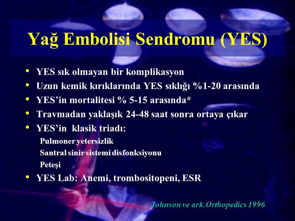 YES sık olmayan bir komplikasyon Uzun kemik kırıklarında YES sıklığı %1-20 arasında YES'in mortalitesi % 5-15 arasında* Travmadan yaklaşık 24-48 saat