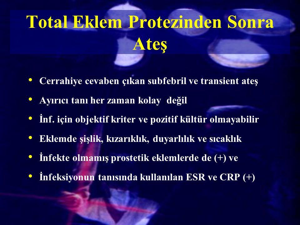 Total Eklem Protezinden Sonra Ateş Cerrahiye cevaben çıkan subfebril ve transient ateş Ayırıcı tanı her zaman kolay değil İnf. için objektif kriter ve