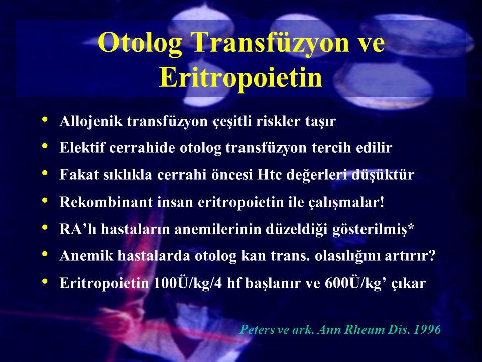 Otolog Transfüzyon ve Eritropoietin Allojenik transfüzyon çeşitli riskler taşır Elektif cerrahide otolog transfüzyon tercih edilir Fakat sıklıkla cerr