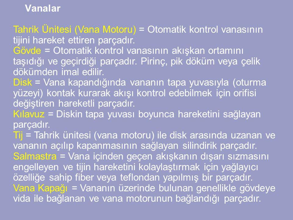 Vanalar Tahrik Ünitesi (Vana Motoru) = Otomatik kontrol vanasının tijini hareket ettiren parçadır.