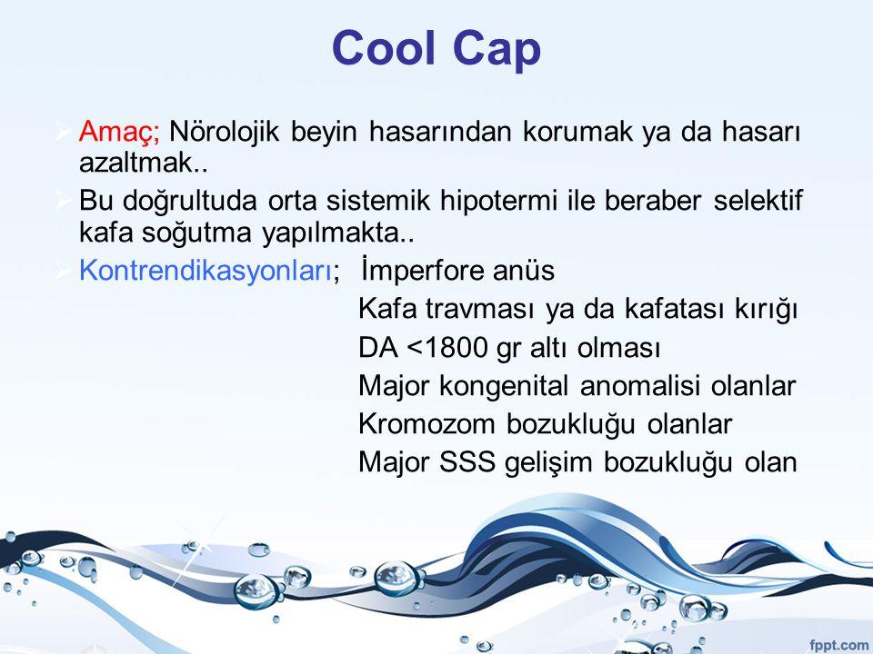 Cool Cap  Amaç; Nörolojik beyin hasarından korumak ya da hasarı azaltmak..  Bu doğrultuda orta sistemik hipotermi ile beraber selektif kafa soğutma